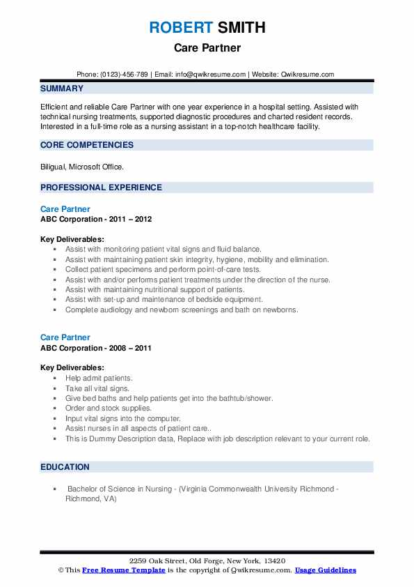 Care Partner Resume example