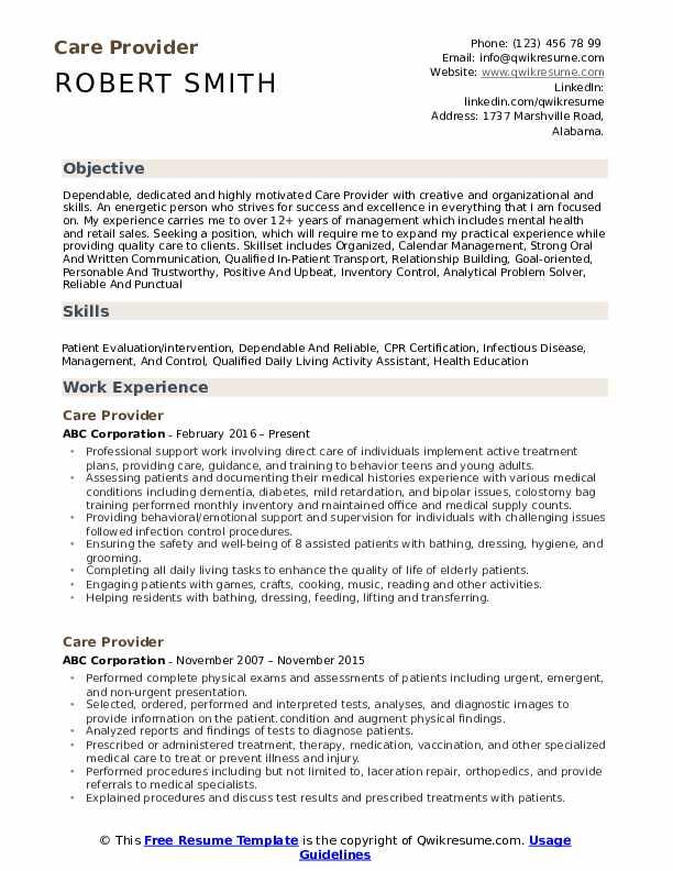 Care Provider Resume Model