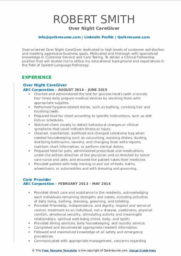 Over Night CareGiver Resume Sample