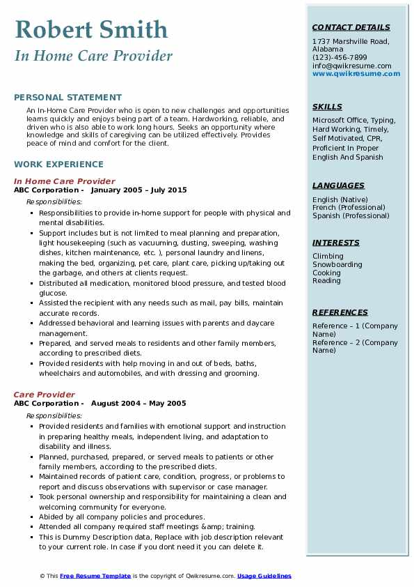 In Home Care Provider Resume Example