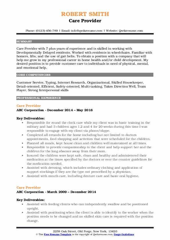 Care Provider Resume Example