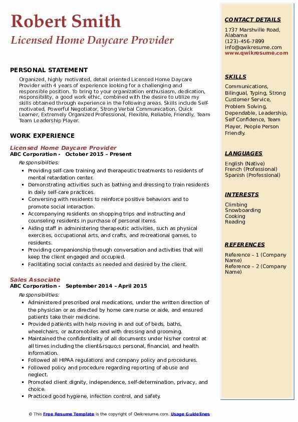 Licensed Home Daycare Provider Resume Format