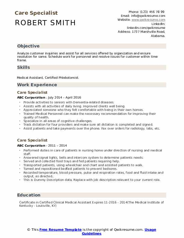 Care Specialist Resume example