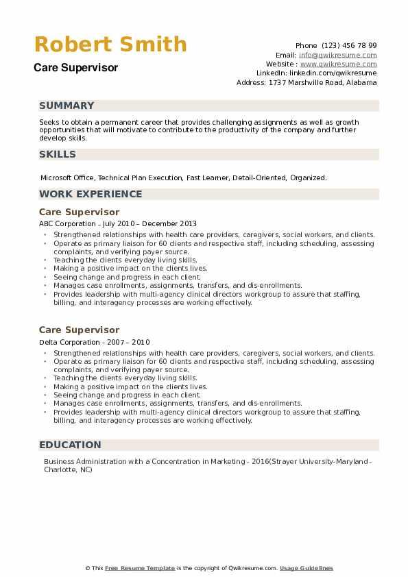 Care Supervisor Resume example
