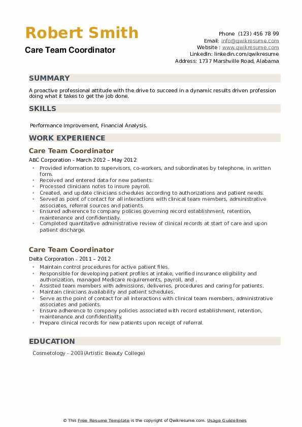 Care Team Coordinator Resume example