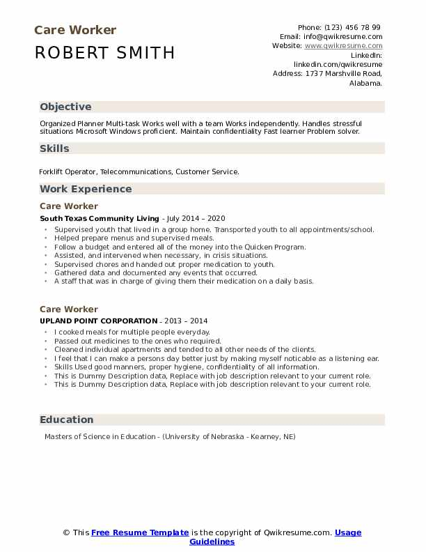Care Worker Resume example