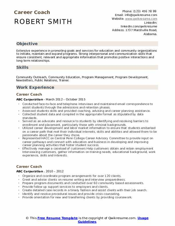 Career Coach Resume Example