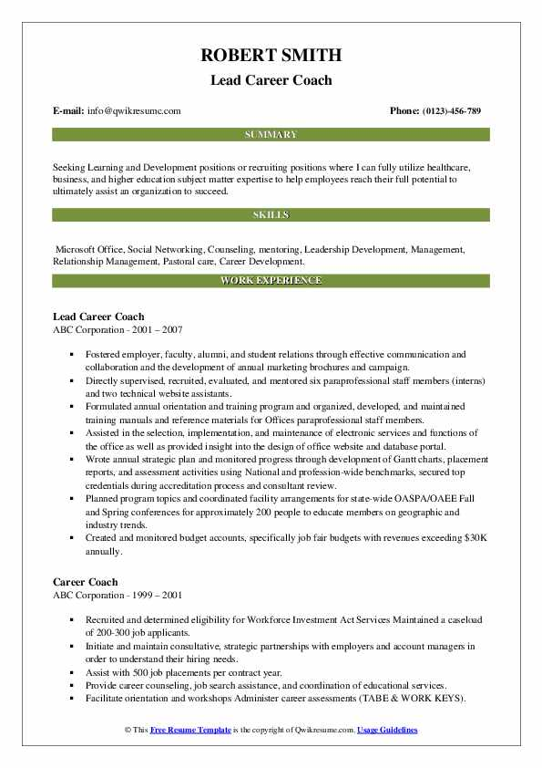Lead Career Coach Resume Format