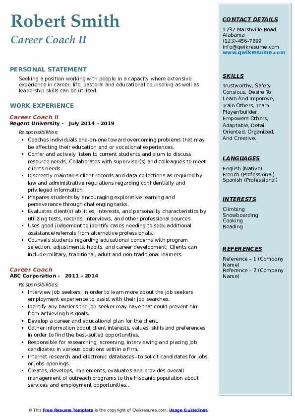 Career Coach II Resume Model