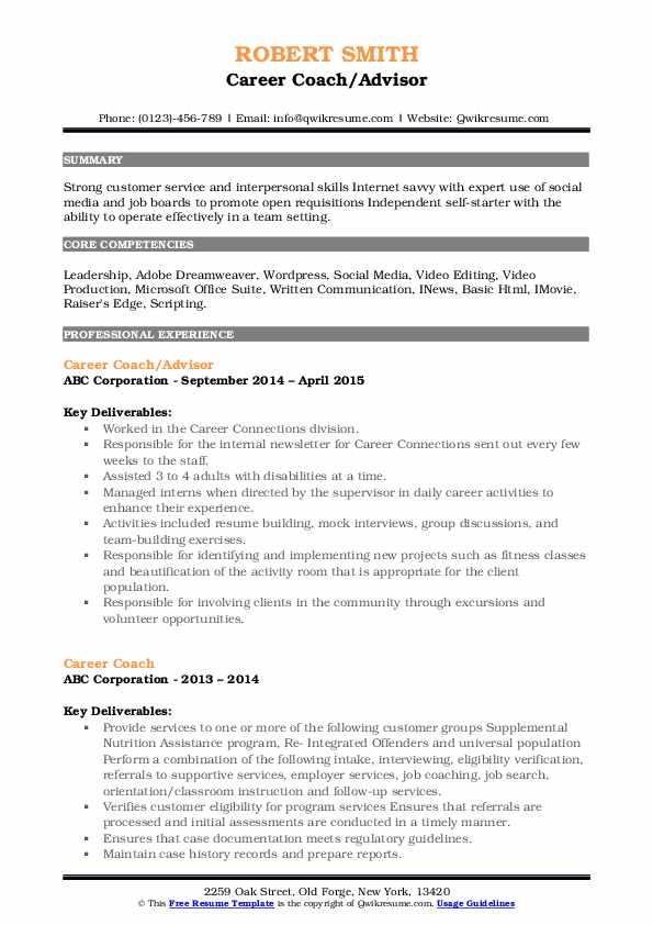 Career Coach/Advisor Resume Format