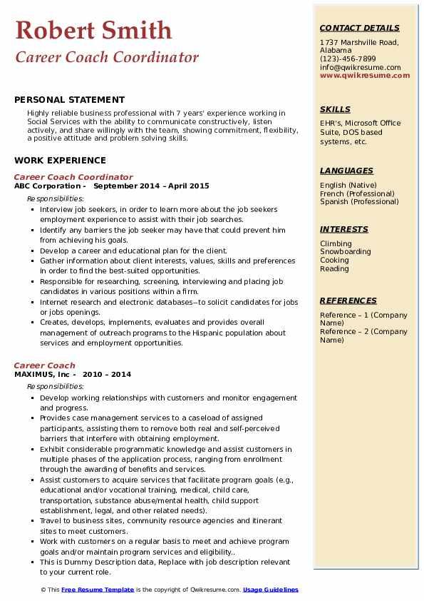 Career Coach Coordinator Resume Model
