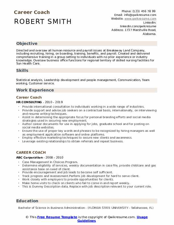 Career Coach Resume example
