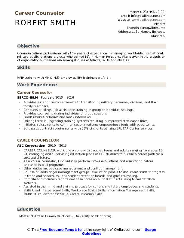 Career Counselor Resume Format