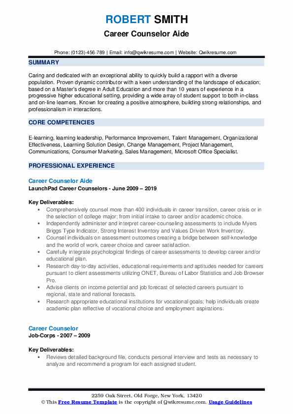Career Counselor Aide Resume Example