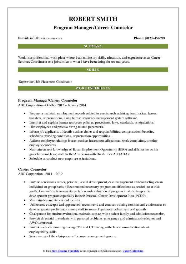 Career Counselor Resume Samples