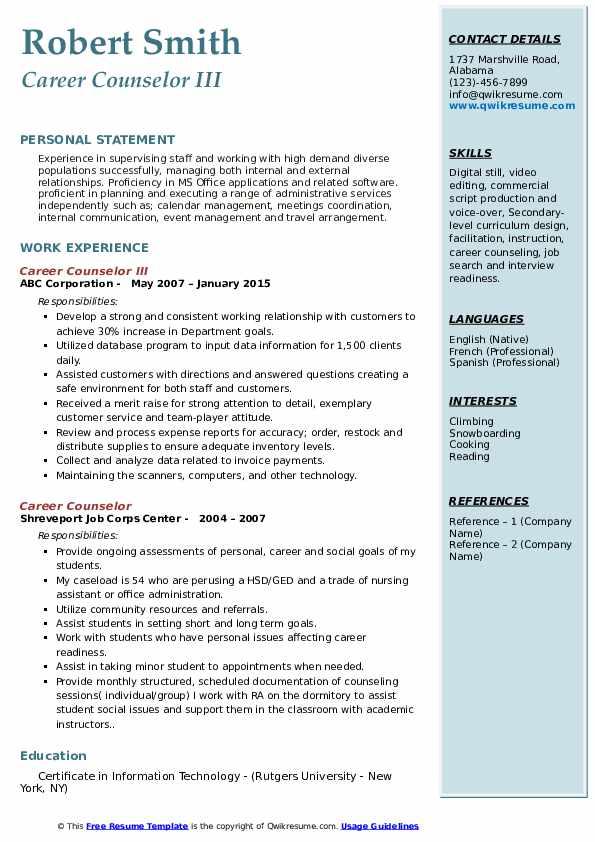 Career Counselor III Resume Sample