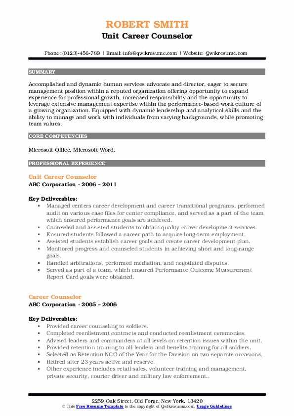 Unit Career Counselor Resume Template