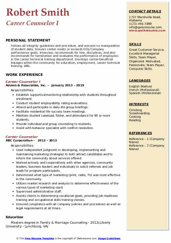 Career Counselor I Resume Model