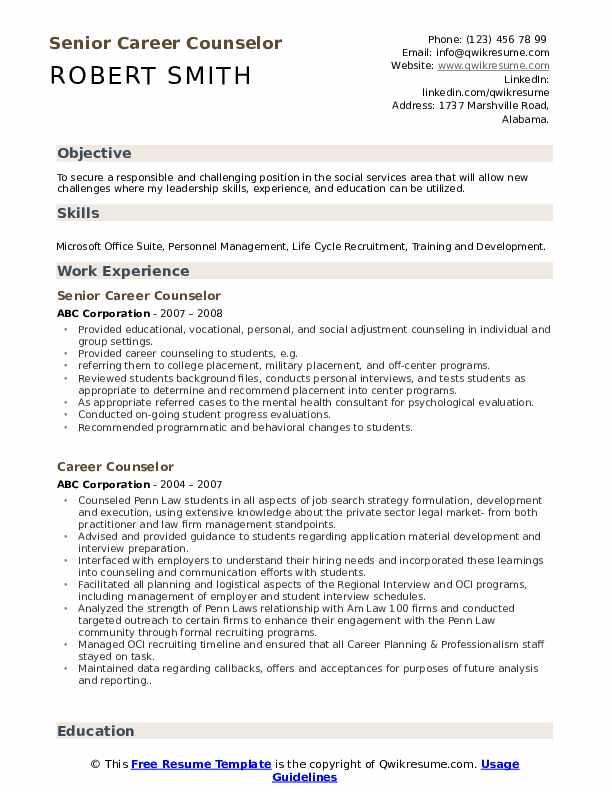 Senior Career Counselor Resume Template