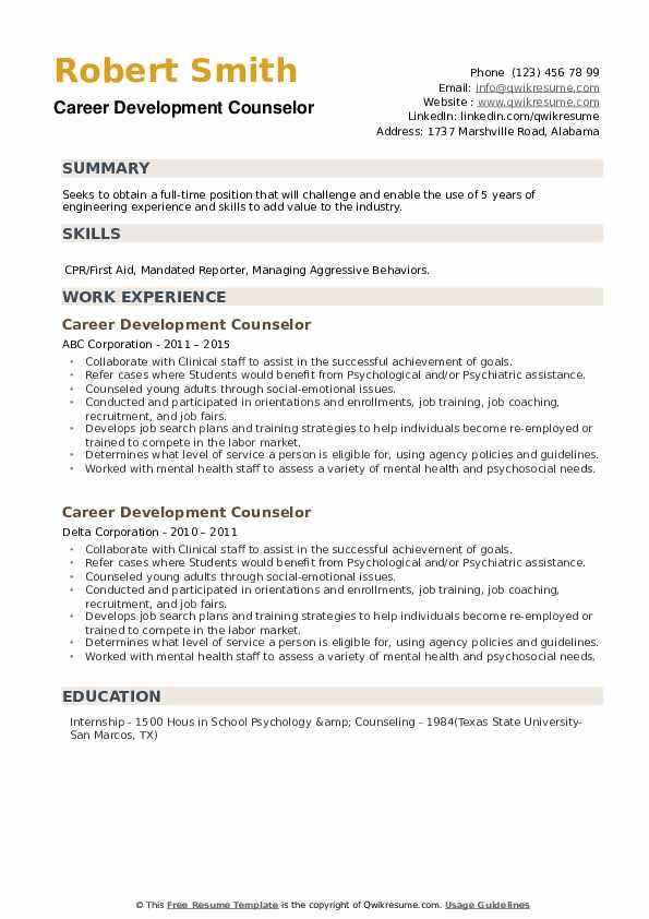 Career Development Counselor Resume example