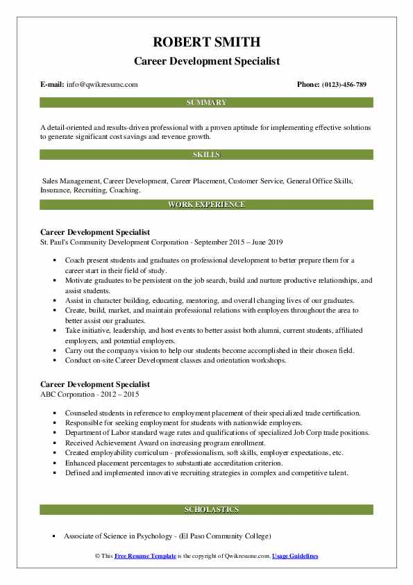 Career Development Specialist Resume example