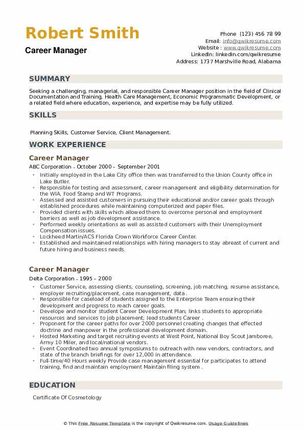 Career Manager Resume example