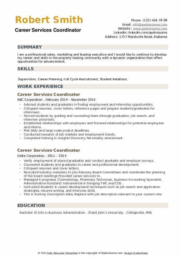 Career Services Coordinator Resume example