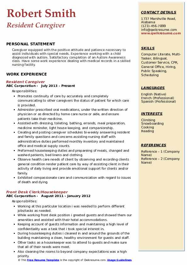 Resident Caregiver Resume Model