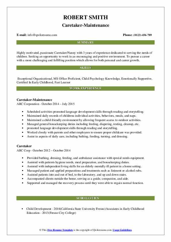 Caretaker-Maintenance Resume Format