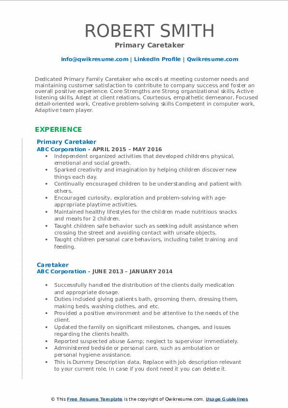 Primary Caretaker Resume Template