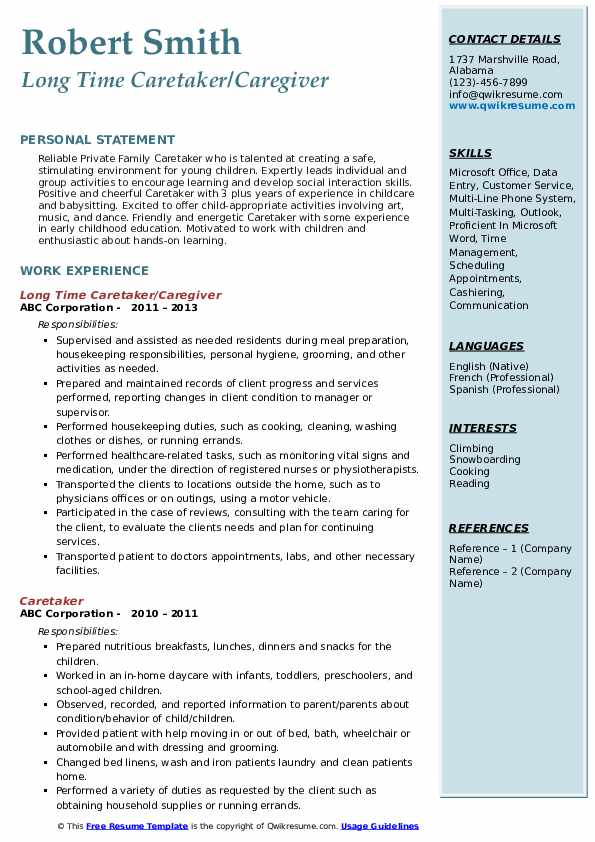 Long Time Caretaker/Caregiver Resume Format