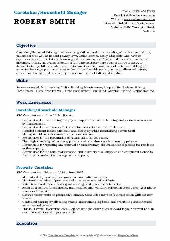 Caretaker/Household Manager Resume Sample