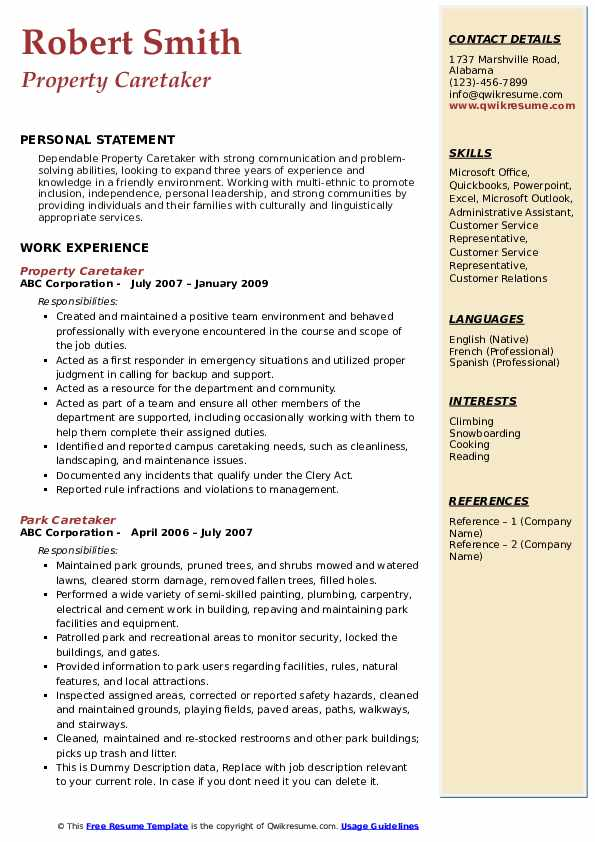 Property Caretaker Resume Sample