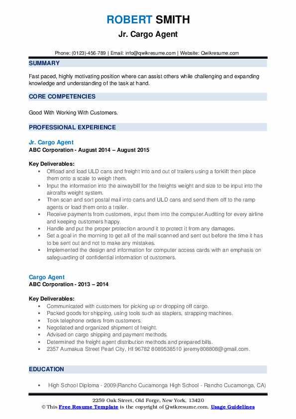 Jr. Cargo Agent Resume Format