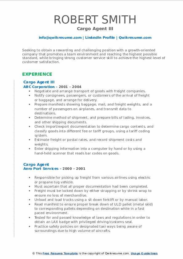 Cargo Agent III Resume Format