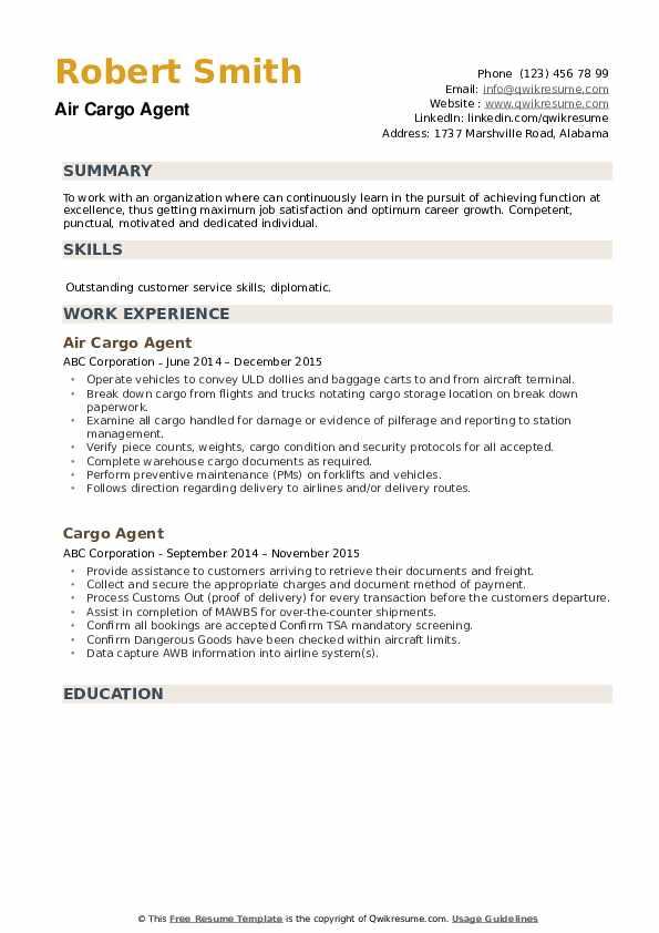Air Cargo Agent Resume Sample