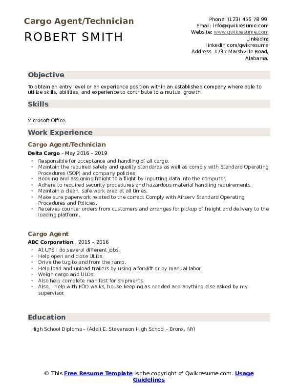 Cargo Agent/Technician Resume Format