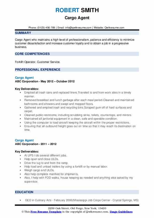 Cargo Agent Resume example