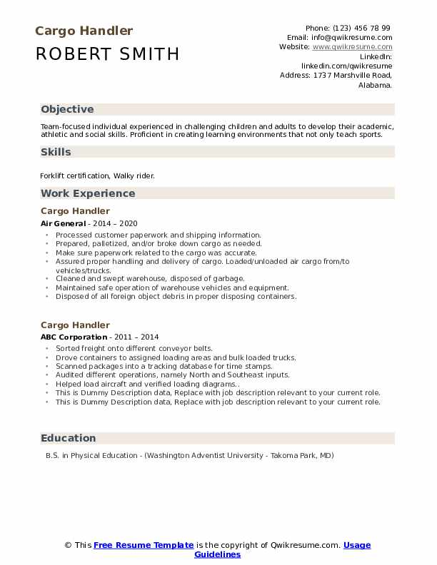 Cargo Handler Resume example