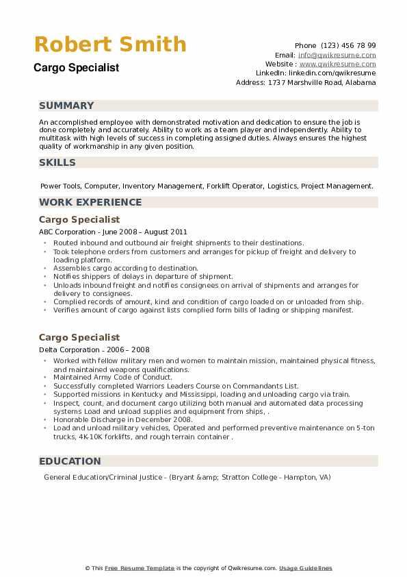 Cargo Specialist Resume example