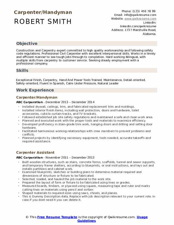 Carpenter/Handyman Resume Template