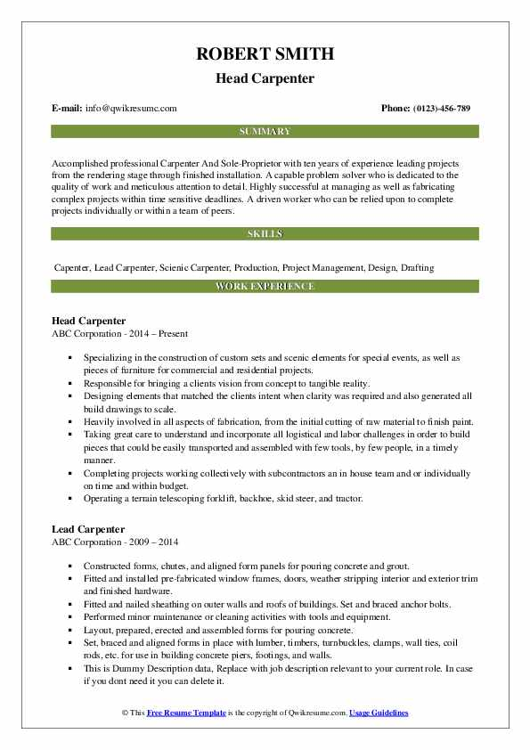 Head Carpenter Resume Template
