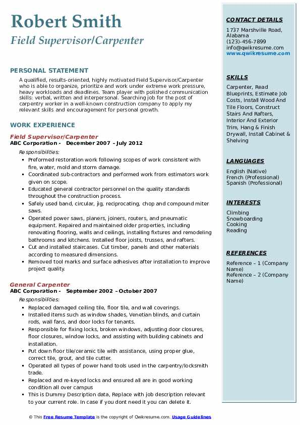Field Supervisor/Carpenter Resume Model