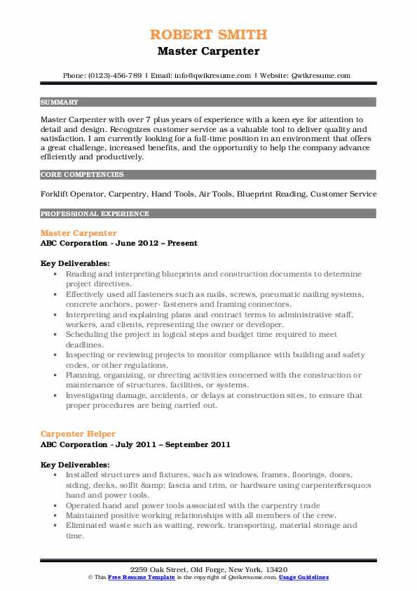 Master Carpenter Resume Model