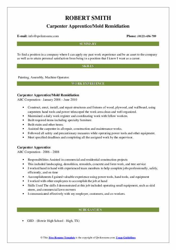 Carpenter Apprentice/Mold Remidiation Resume Format