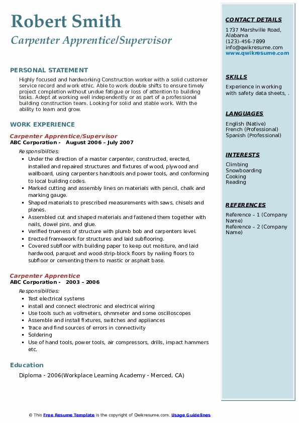 Carpenter Apprentice/Supervisor Resume Template