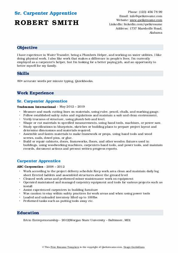 Sr. Carpenter Apprentice Resume Sample