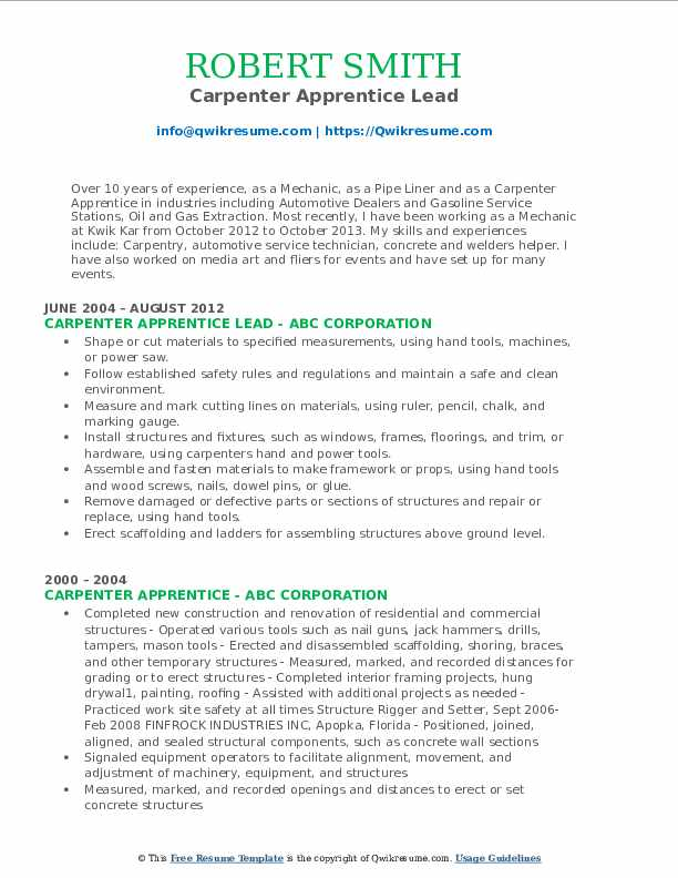 Carpenter Apprentice Lead Resume Sample