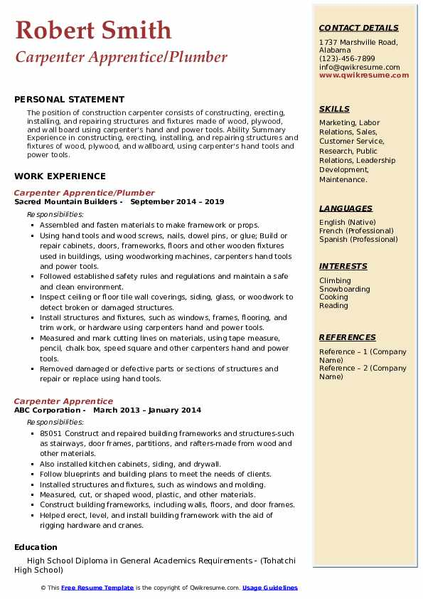 Carpenter Apprentice/Plumber Resume Format
