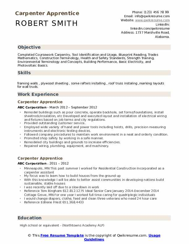 Carpenter Apprentice Resume Example